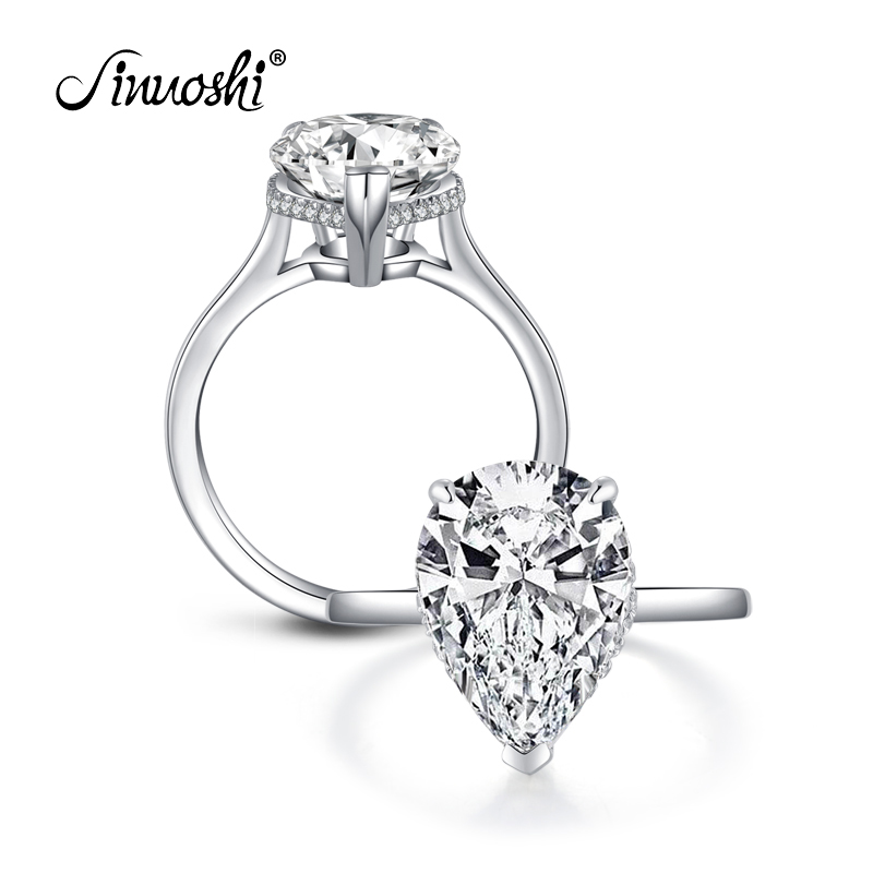 AINOUSHI Luxury 925 Sterling Silver Solitaire Rings Engagement Wedding 5 Carats Pear Shaped Rings Water Drop Gifts Anillos Plata