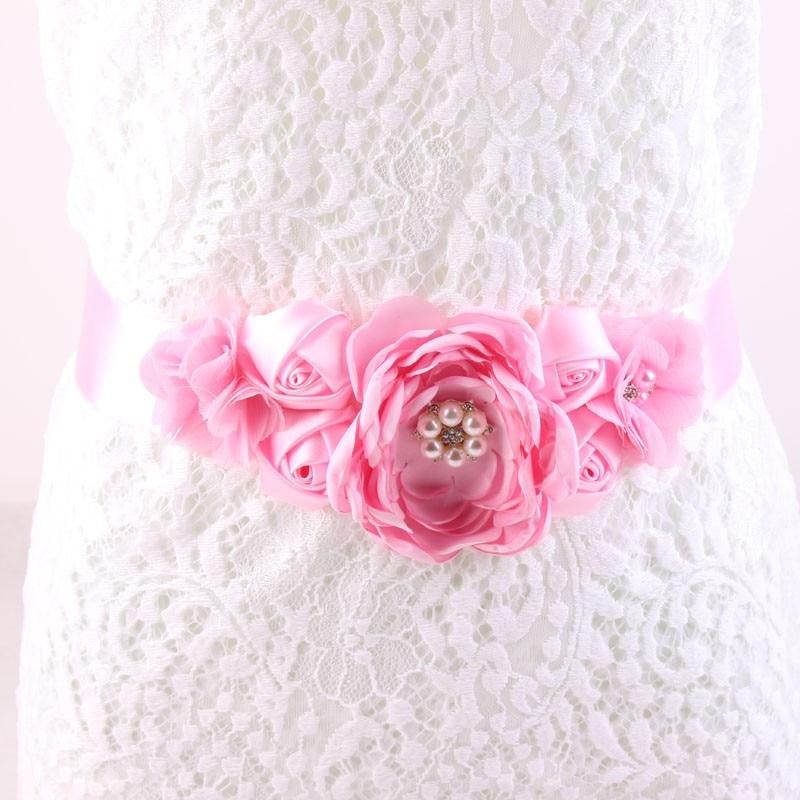 Maternity Sash Flower Sash   Belt   Bridesmaid Accessory Photo Prop Baby Shower Newborn Flower   Belt   Bridal Wedding Accessories