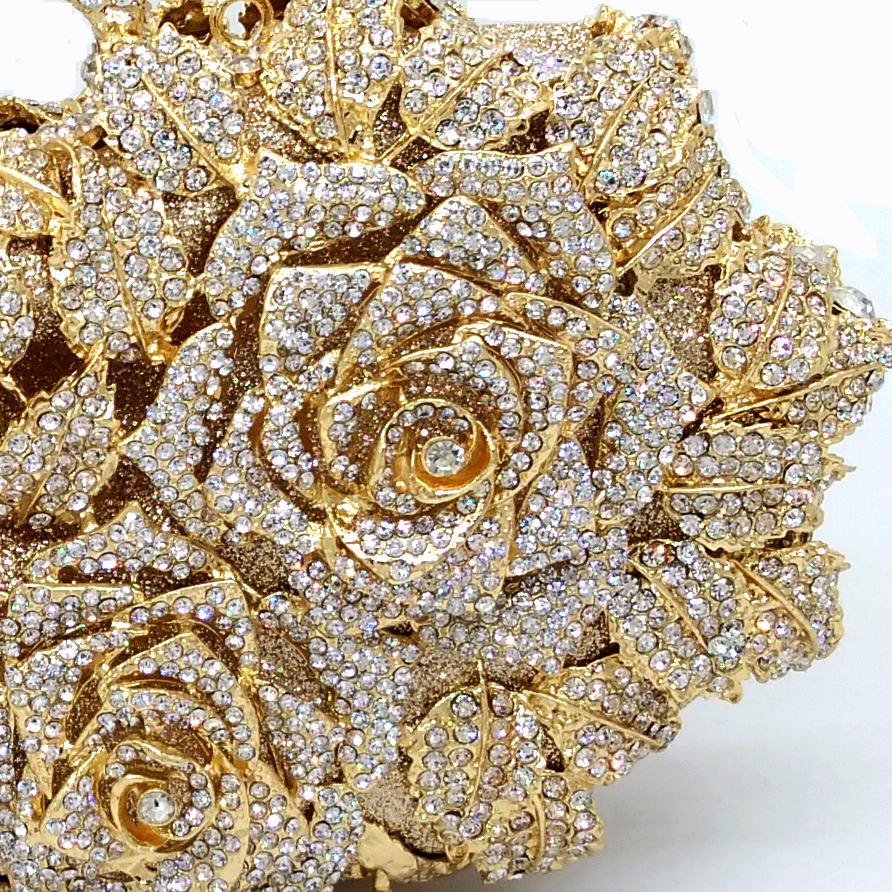Dazzling Frauen Gold Rose Blume Aushöhlen Kristall Abend Metall Kupplungen Kleine Schminktäschchen Handtasche Hochzeit Box Clutch Bag-in Taschen mit Griff oben aus Gepäck & Taschen bei  Gruppe 3