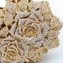 Dazzling Women Gold Rose Flower Hollow Out Crystal Metal Clutches Handbag Purse Wedding Box Clutch Bag