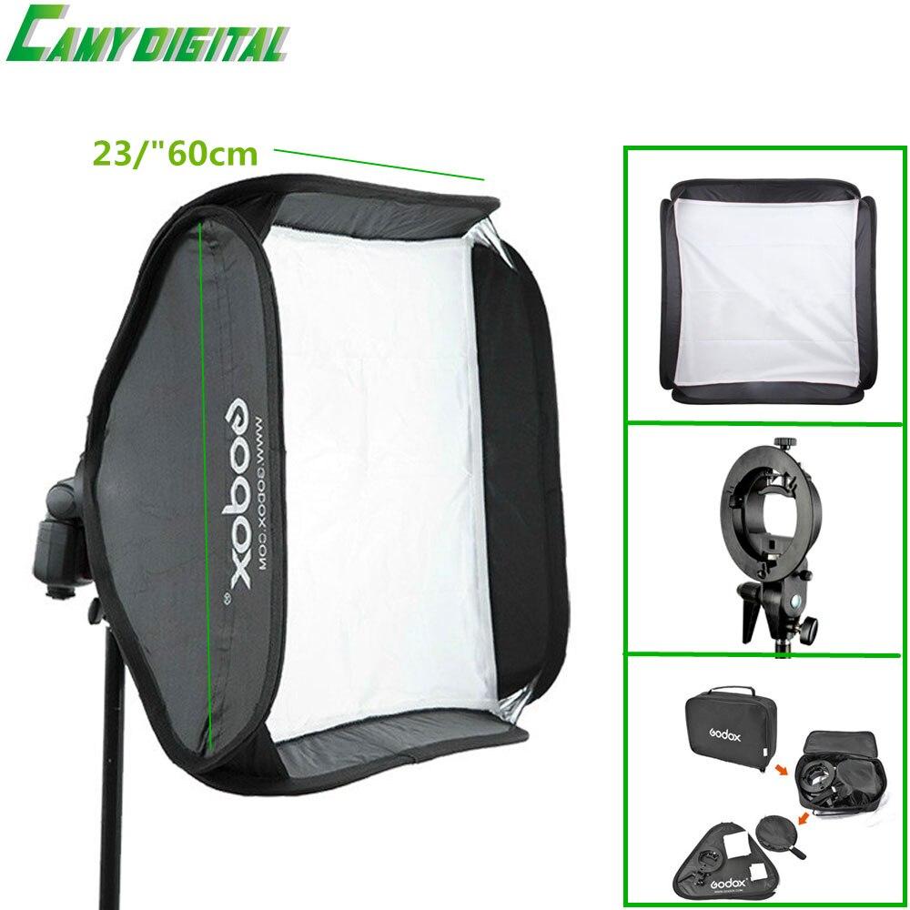 Godox S Type Bracket Bowen Mount SoftBox 23 60cm Kit For Camera Flash Speedlite Honeycomb SoftBox