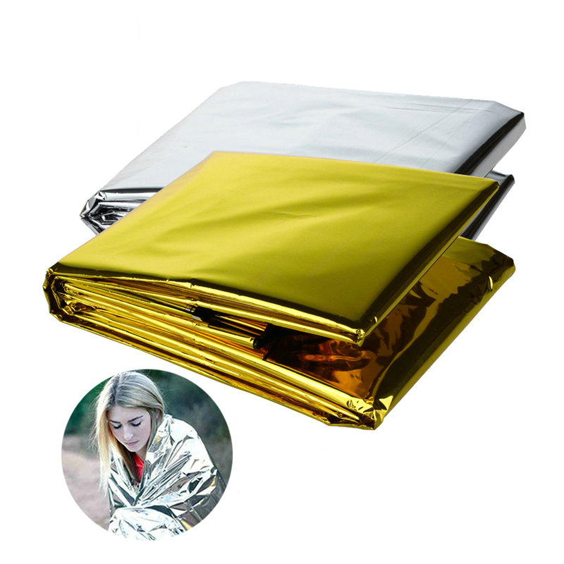 210 * 130CM/210*160CM Thick PET Outdoor Insulation Survival Blanket Reflective Emergency Blanket Warm Sunscreen Space Blanket