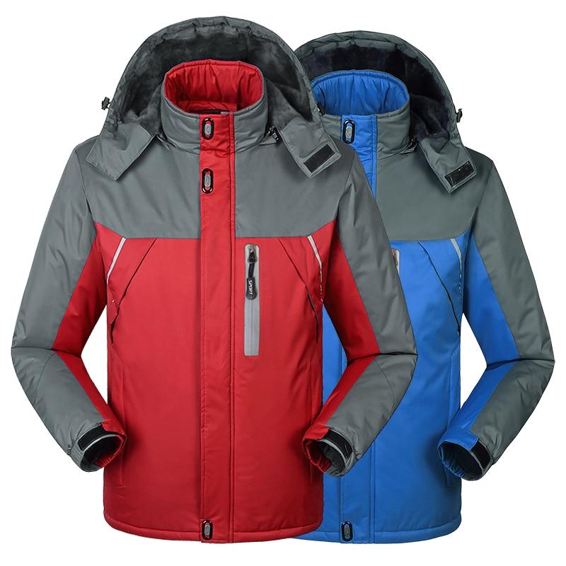Thick plus velvet coat Winter men Down Parkas thermal Velvet jacket coat outwear jaqueta Waterproof Windproof