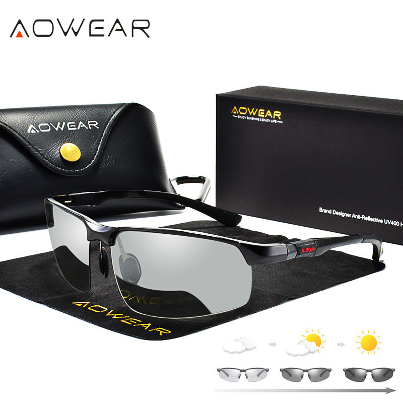 AOWEAR Photochromic Sunglasses Men Polarized Chameleon Glasses Male Change Color Sun Glasses HD Day Night Vision Driving Eyewear Мотоцикл