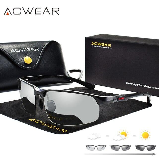 AOWEAR Photochromic Sunglasses Men Polarized Day Night Driving Glasses High Quality Aluminium Rimless Chameleon Eyewear Gafas