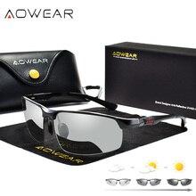 AOWEAR fotochromowe okulary mężczyźni spolaryzowane dzień okulary do jazdy nocą wysokiej jakości Aluminium bez oprawek kameleon okulary Gafas