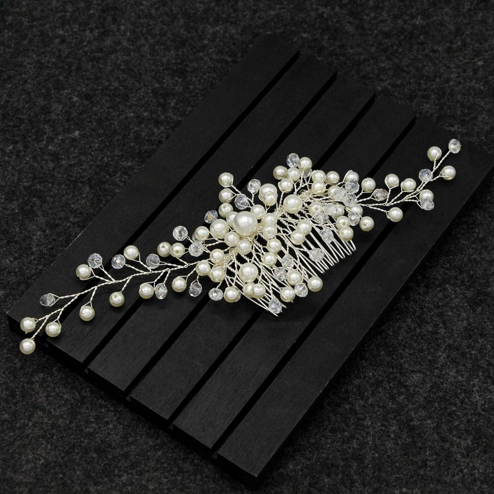 handmade pearl long comb brides cross border copper plated silver wedding hair comb bride headdress in Hair Jewelry from Jewelry Accessories