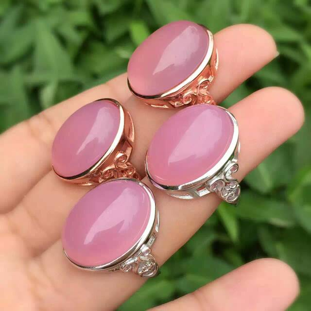 Natural pink chalcedony gem Ring Natural gemstone ring 925 sterling silver trendy Luxury round women's girl gift fine Jewelry
