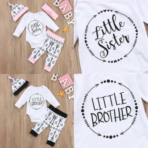 Newborn Infant Baby Boy Girls Clothes Playsuit Romper Pants Little Sister Little Brother Outfit Set Age 0-18M