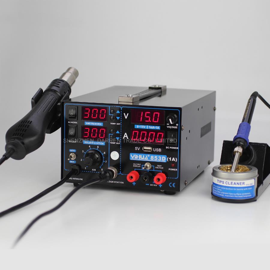 цена на 110V/220V YIHUA 853D 1A repair soldering iron hot air gun part Soldering Station with English Manual