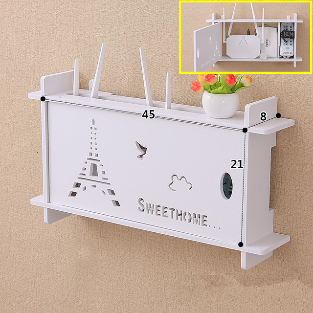 US $26 95 |WiFi Router Shelf Wall Mount Router Book Storage Box Router Rack  Mount Kit,45 x21 cm-in Brackets from Home Improvement on Aliexpress com |