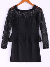 Long Sleeves Lace Splicing Boat Neck Sexy Style Women's Dress plunging neck lace splicing dress