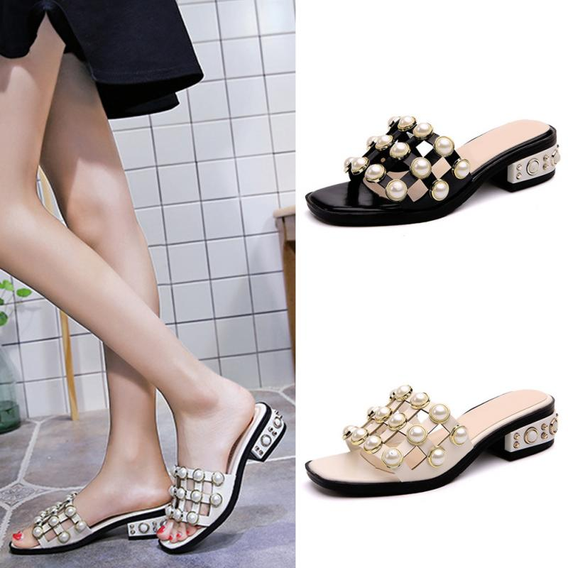 2018 New Design Summer Fashion Women Stylish Chunky Heels kitten Heels Pearls Rivets Sandals Slipper Shoes Casual Sandals coolsa men s linen flip flops striped ribbon sandals flat eva non slip linen slides home slippers man casual straw beach shoes