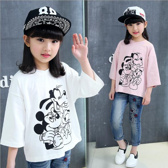 T-Shirt Kids Tops Long-Sleeve Baby-Girls 12-Years Summer Child Pink Cartoon for 8 4 10