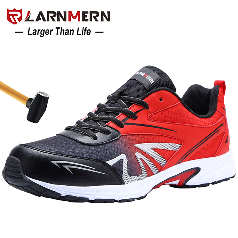 LARNMERN Men s Steel Toe Safety Work Shoes Lightweight Breathable Anti smashing Non slip Construction Protective