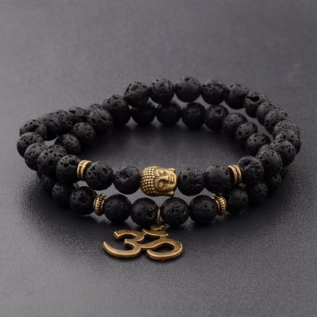 Bracelet hommes bouddha noir pierre naturelle