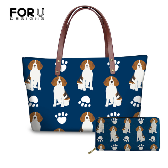 FORUDESIGNS Beagles Dog Pattern Handbag Ladies Women Handbags PU Leather  Wallets Hand Bag For Women Shoulder Casual Tote Bags 5d221356512d3