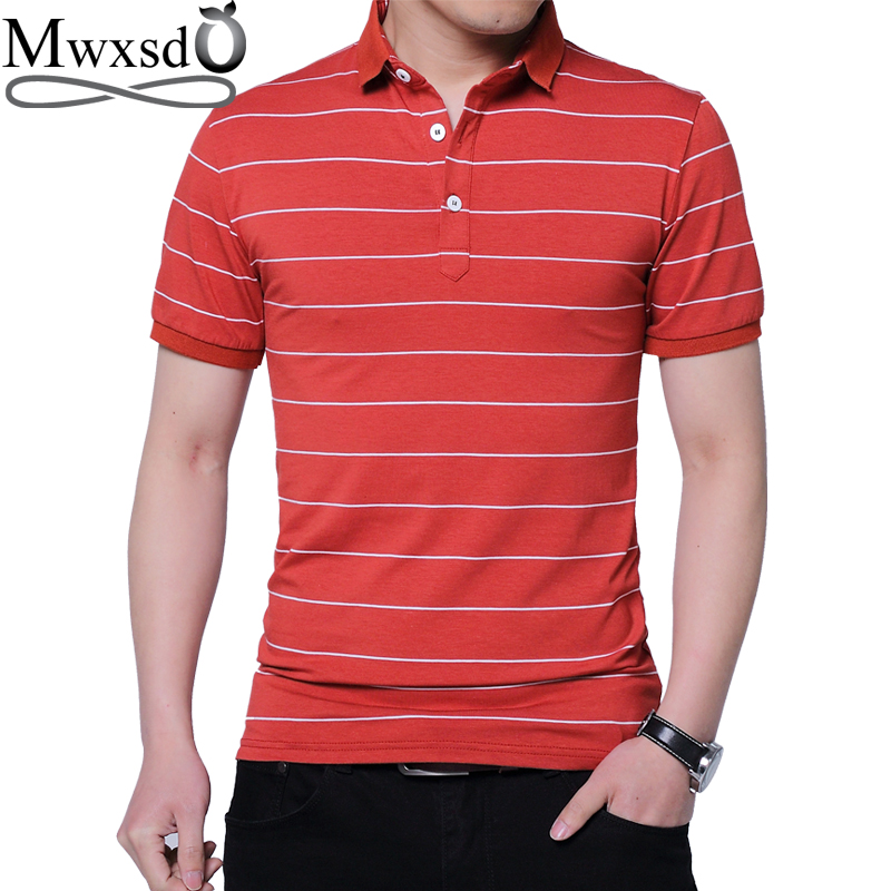 Mwxsd Brand Summer Men Short Sleeve Polo Shirt Men's Striped Polo Shirt Breathable Polos Camisa Polo Masculino M-5xl