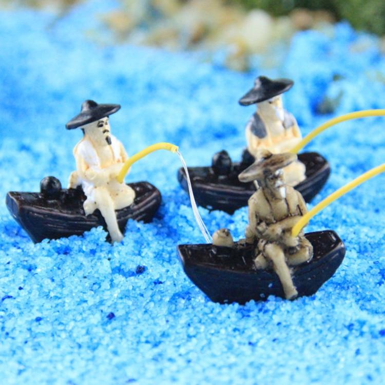 3ks rybáři (malý) / rybář / moře / víla zahradní gnome / model mini lodi / teráriové dekorace / milenci / dárky / dětské dárky