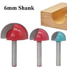 Cortador de madeira de haste de 6mm, carboneto sólido, pontas redondas, nariz, núcleo, caixa, roteador, carpintaria, 1 peça ferramentas cortadores cnc
