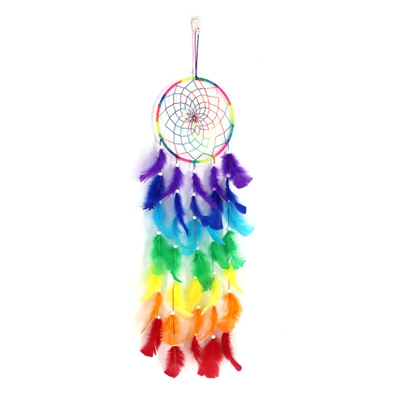 Dream Catcher Colorful Dreamcatchers Handmade Rainbow Traditional Feather Hanging Home Wall Decoration Bedroom Ornament Craft