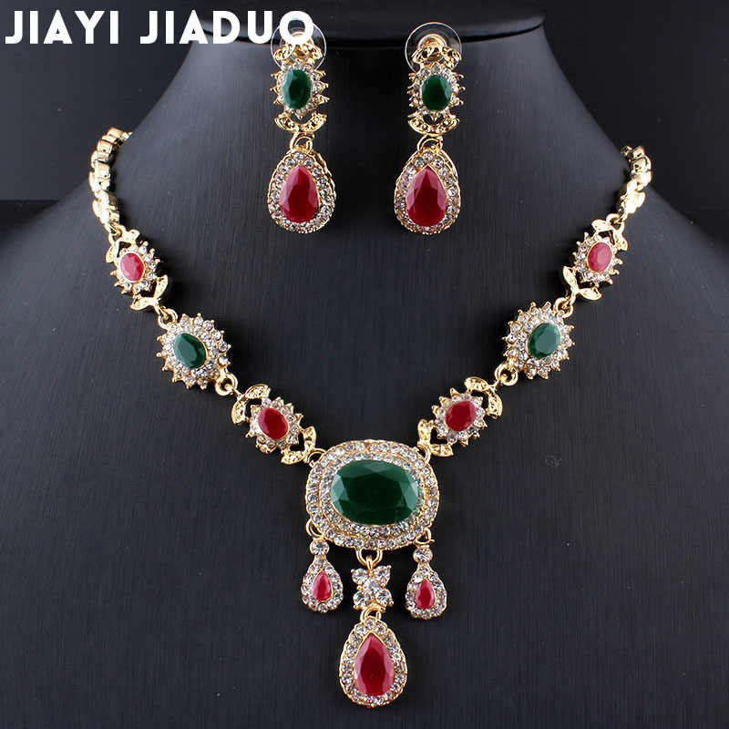 jiayijiaduo India charm elegant wedding jewelry set  gold-color necklace earrings resin accessories clothing accessories women