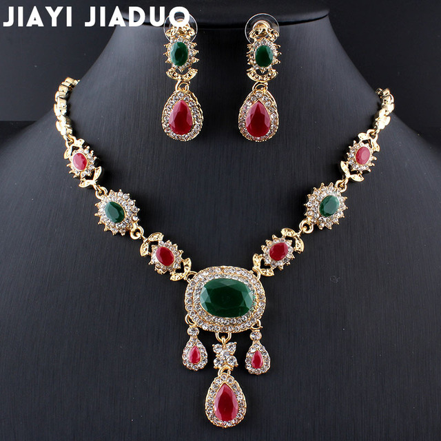 jiayijiaduo India charm elegant wedding jewelry set gold color