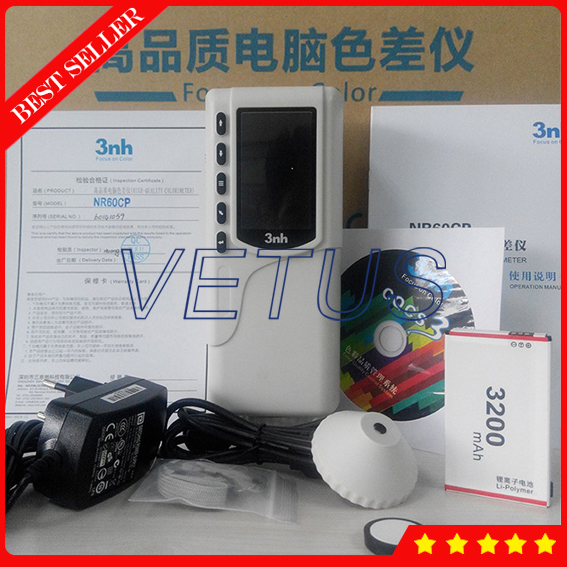 NR60CP Double locating Portable Digital Colorimeter with 4mm 8mm measuring apertures Switchable Color Difference Meter Tester
