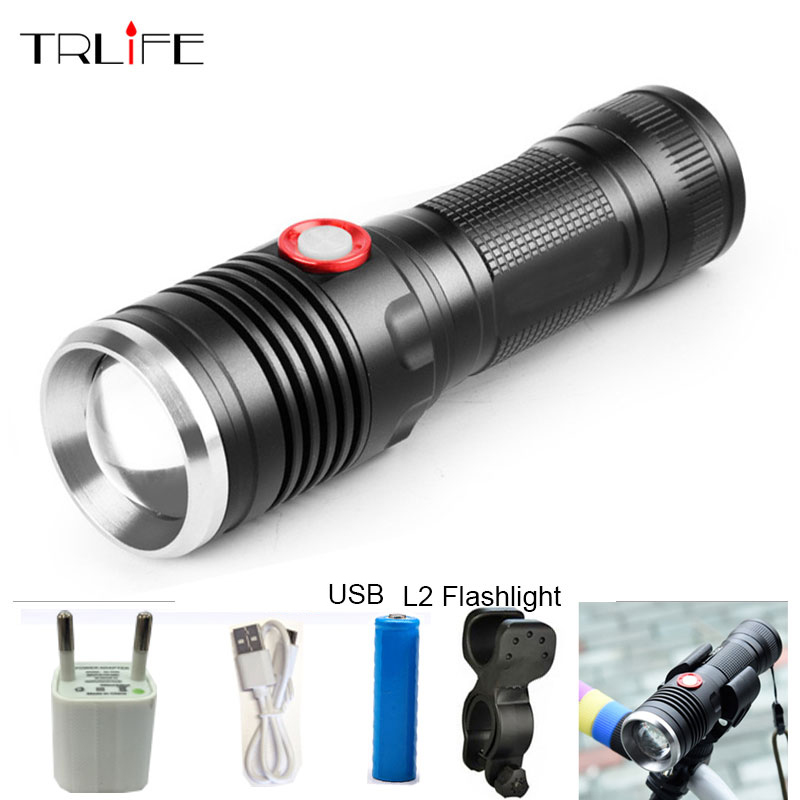 USB T6/L2 LED Tactical Flashlight Lantern Aluminum 26650 Torch Flash Light Camping Lamp with Smart Power Reminder usb xml t6 xpe led tactical flashlight lantern aluminum 26650 16340 rechargeable zoom torch flash light portabke camping lamp