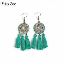 Miss Zoe Summer Fashion Colorful Long Tassels Drop Earrings Danglers Bohemia Ethnic Vintage Charm Earrings BOHO Beach Holiday
