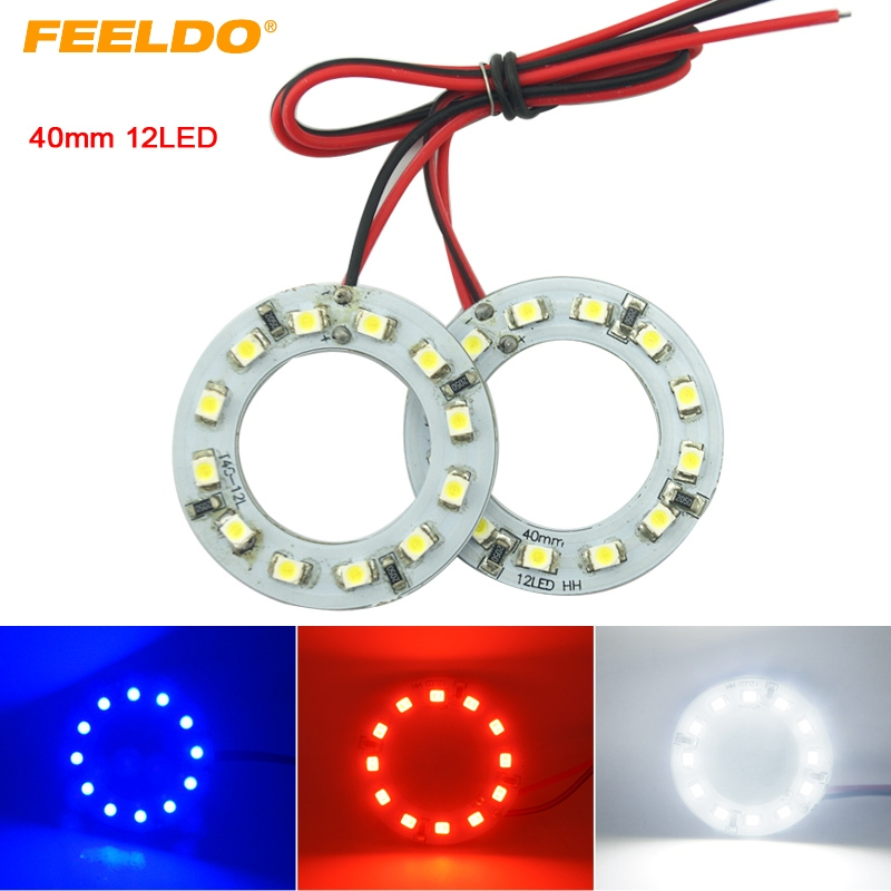 FEELDO 2pcs 40mm Car Angel Eyes 1210/3528 12SMD LED Headlight Halo Ring Angel Eye Lighting White Red Blue #HQ2666
