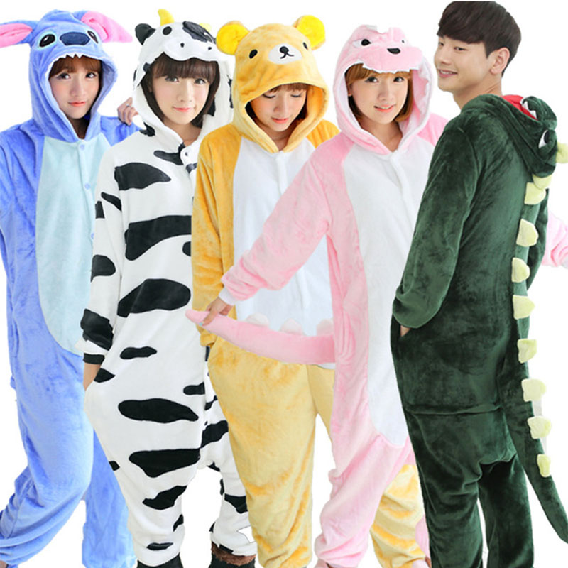 Dinosaur Horse Pikachu Unisex Flannel Hoodie Pajamas Costume Cosplay Animal Onesie Sleepwear For Men Women Christmas