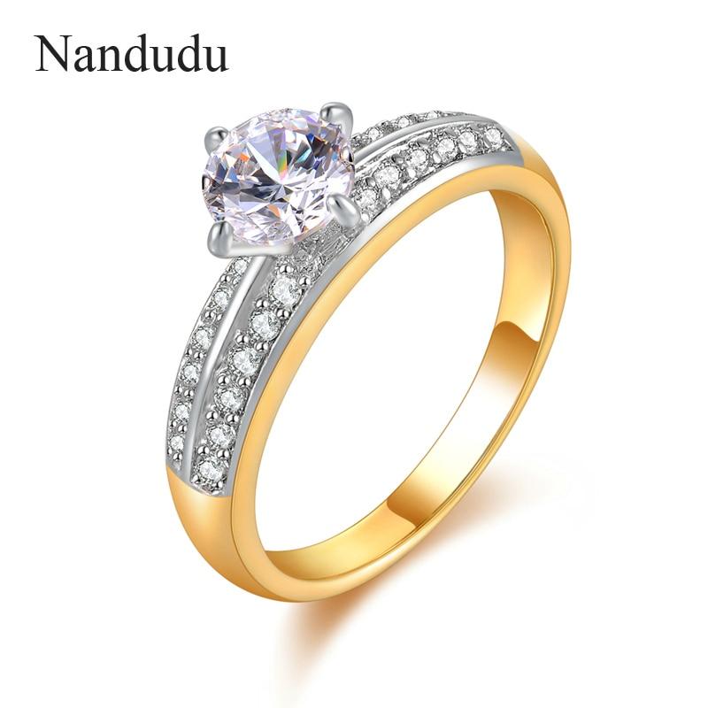 Nandudu Champaign Gold Wedding Ring Transparent Austrian Crystal