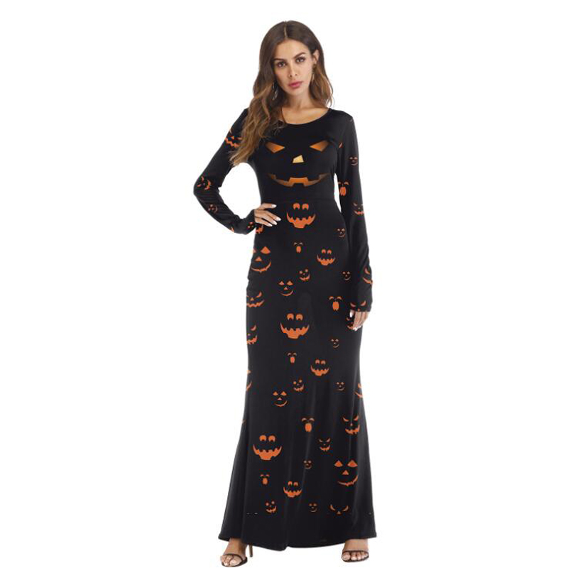 Scary Costumes Cosplay Women Disfraz Halloween Clothes Skull Pumpkin Printed Long Sleeve Vintage Gown Evening Party Maxi Dress