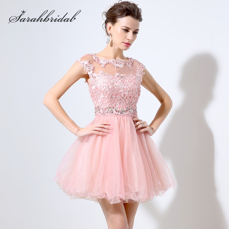 Sweety Portrait Homecoming Dresses with sleeveless Capped Lace Beaded Crystal Tulle Mini Length Party Gowns Sleeveless
