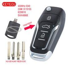 Keyecu משודרג Flip מרחוק רכב מפתח Fob 2 כפתור 433 MHz ID40 שבב עבור אופל Corsa C מריבת Tigra B TWIN למעלה 5WK48668