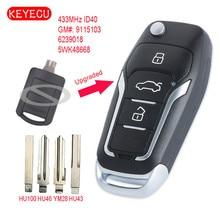 Keyecu Yükseltilmiş Çevirme Uzaktan Araba Anahtar Fob 2 Düğme 433 MHz ID40 Çip için Opel Corsa C Meriva A Tigra B e N e n e n e n e n e n e n e n e n e EN 5WK48668