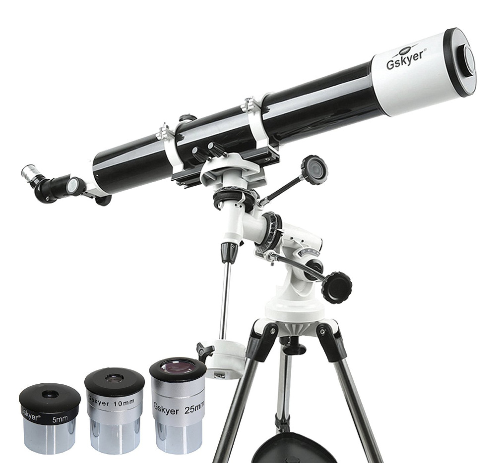 Gskyer Refractive Astronomical Telescope 900 X 80mm Dual-speed turbine Slow Motion Mount Telescope bosma 80 900 astronomical telescope monocular equatorial refractive fully coated telescope with portable tripod w2358b