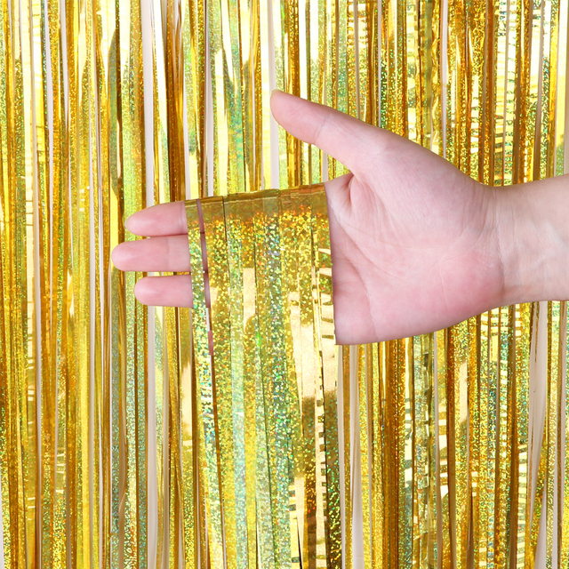 Bachelorette Party Backdrop Curtains Glitter Gold Tinsel Fringe Foil Curtain Birthday Wedding Decoration Adult Anniversary Decor 4