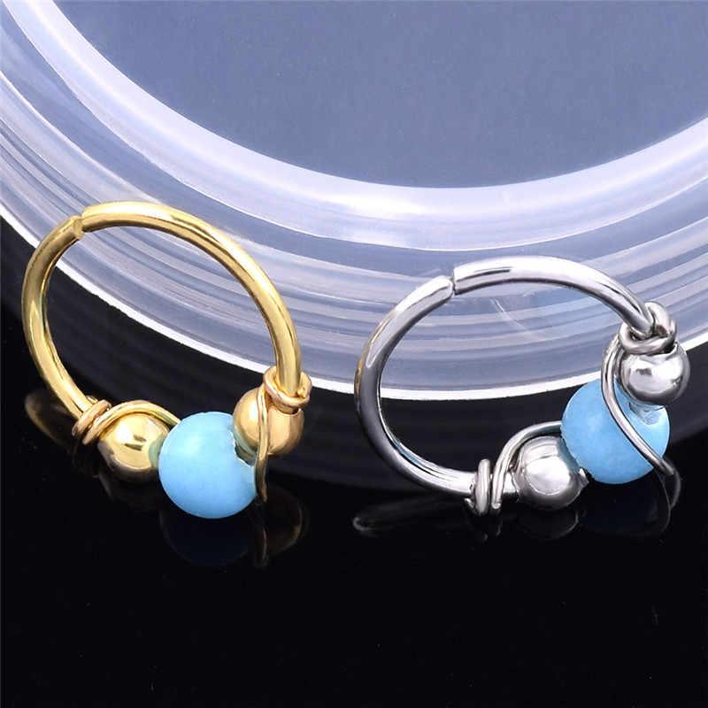 Автоклав 1 шт. Лидер продаж индийский синий камень нос кольцо серьга для носа кольца серьга в нос в стиле хип-хоп, простой, бижутерия для пирсинга, R4
