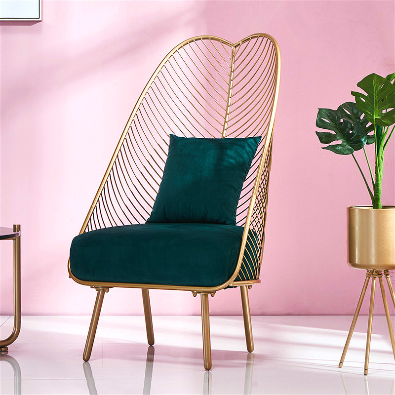 Leisure-Chair Sofa Modern Furniture Living-Room Nordic Luxury Golden Iron With High-Back