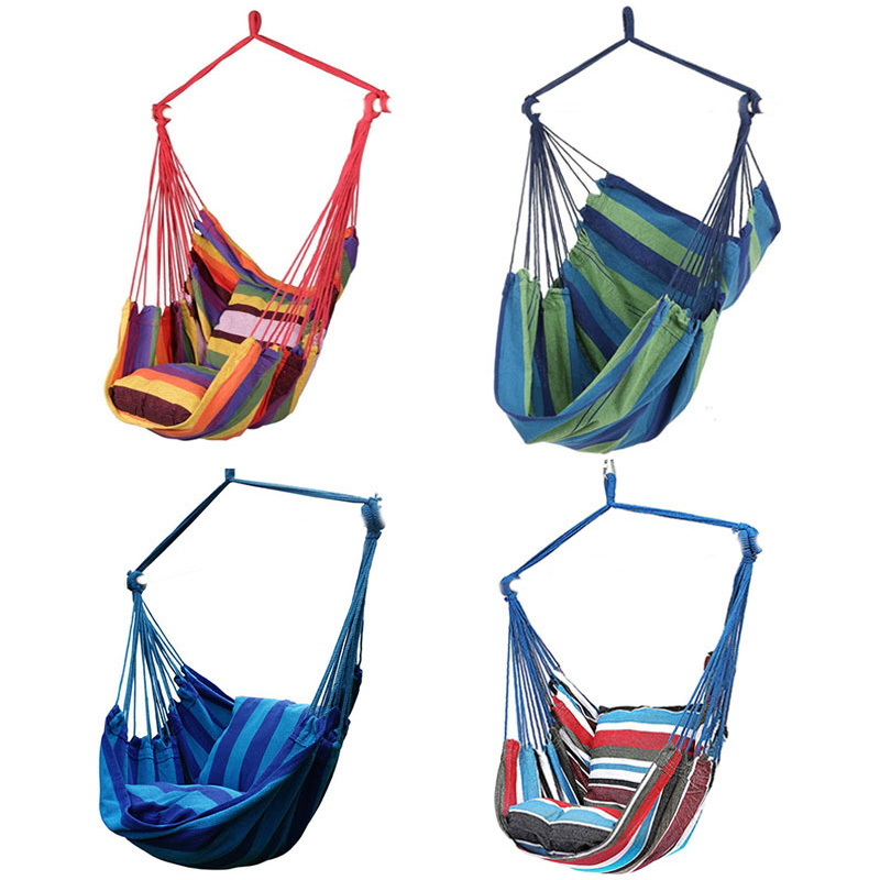Outdoor Garden Hammock Chair Hanging Chair Swing Bed Chair Seat With 2 Pillows Adults Kids Leisure Hammock Swing Chair Promotion
