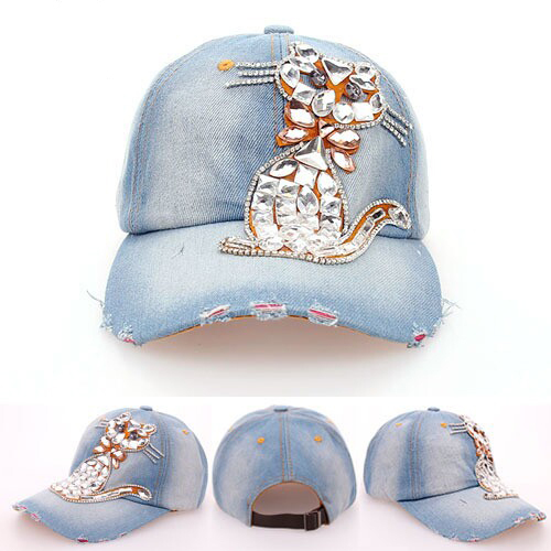 2016 Luxury glass drill Persian cat cowboy baseball cap the high quality rhinestone hats for men and women Drop/Free Shipping