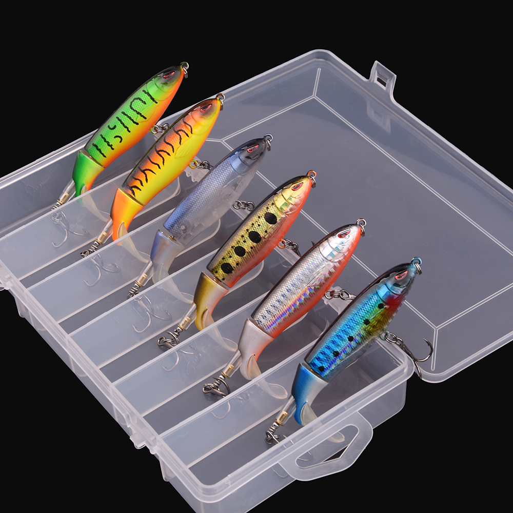 6pcs With Box Whopper Plopper 100mm 13g Floating Popper Fishing Lure Artificial Hard Bait Wobbler Rotating Tail Fishing Tackle
