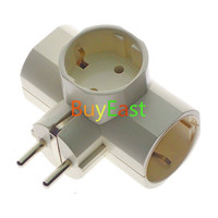 3 Way Schuko Germany Type F Extension Power Strip Plug Adapter 250V 16A