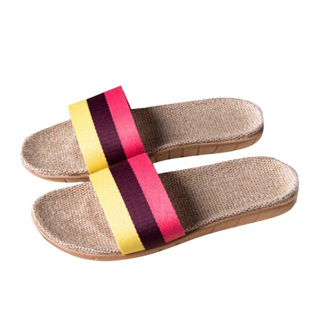 Anti Slip Linen Open Toe Home Shoes 3