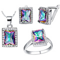 Free shipping on Valentine's Day 2016 new fashion jewelry zircon jewelry lady suit 925 silver square color zircon jewelry set