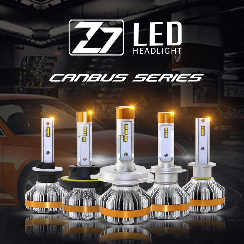 Shipping by DHL Z7 Led Headlight Bulbs H1 H3 H7 H4 9005 H11 100W 12000LM Turbo Fan Cool Truck Replacement Kits LED Headlamp Bulb