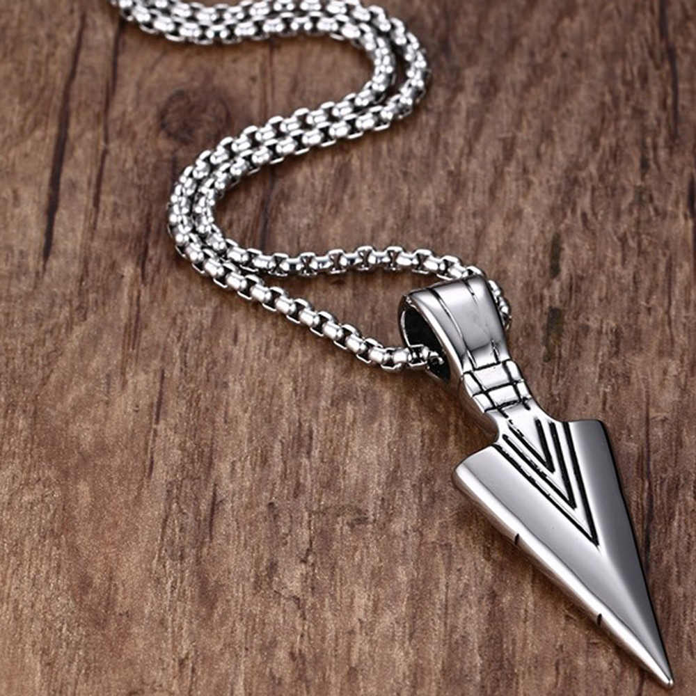 Vintage Striking Men's Necklaces Spearhead Arrowhead Charm Pendant Necklace For Men Choker Jewelry Chain Gifts