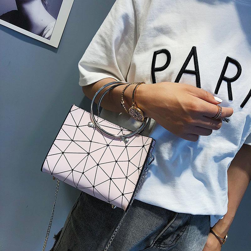 2019 new transparent shoulder bag Korean version of the chain wild rhombic slung female bag small square bag 4